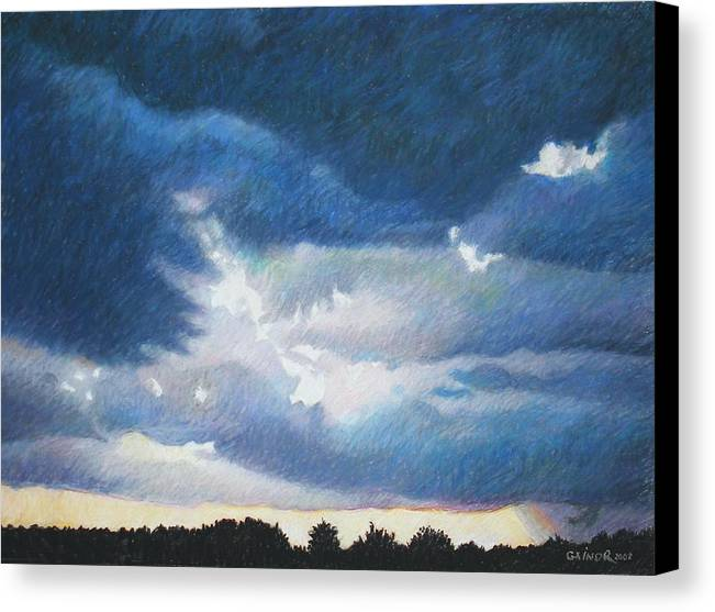 Cloudscape Canvas Print featuring the painting Somewhere The Sun Is Shining by Gainor Roberts