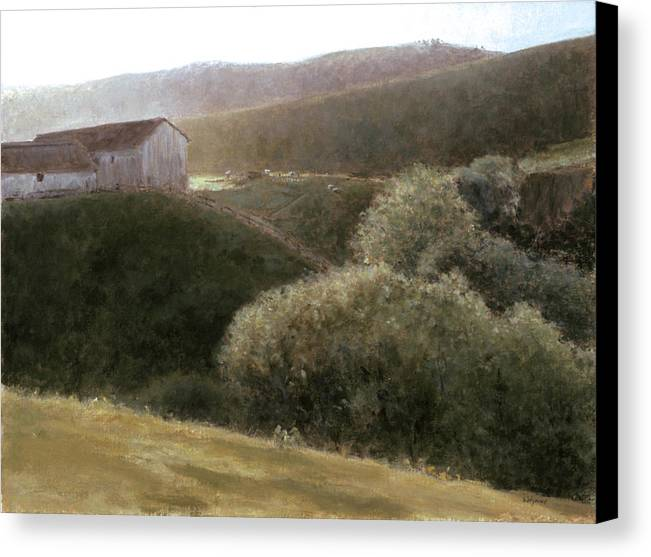 Landscape Canvas Print featuring the painting Sunrise Central California by Laura Wynne