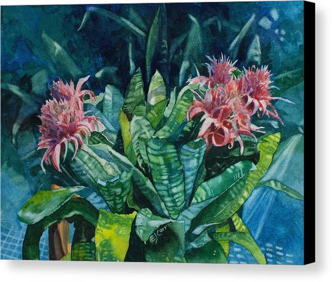 Floral Canvas Print featuring the painting Two Against Three by Elizabeth Carr