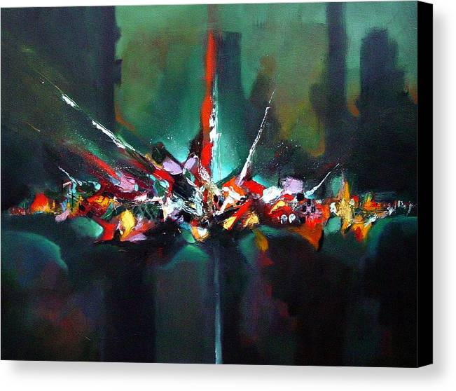 Large Canvas Print featuring the painting Vegas Night Lights by Ronald Dykes