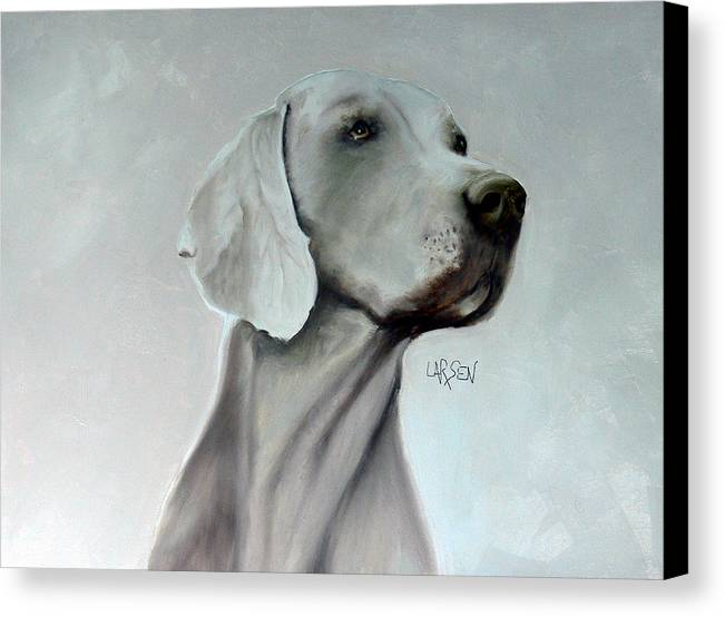 Canvas Print featuring the painting Weimaraner by Dick Larsen