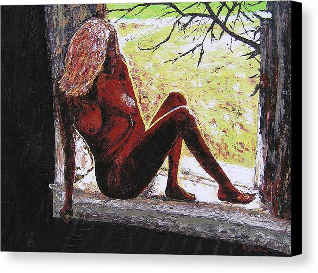 Portrait Canvas Print featuring the painting Window View by Ricklene Wren