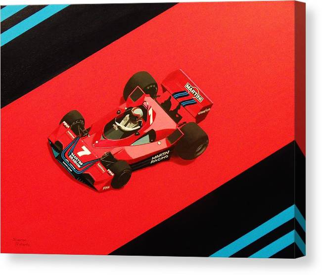 Martini Canvas Print featuring the painting Racing Stripes by Kieran Roberts