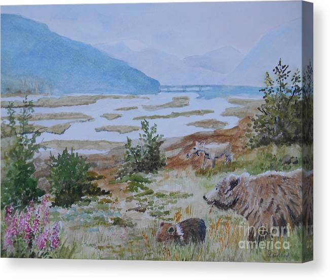 Alaska Canvas Print featuring the painting Alaska - Denali 2 by Christine Lathrop
