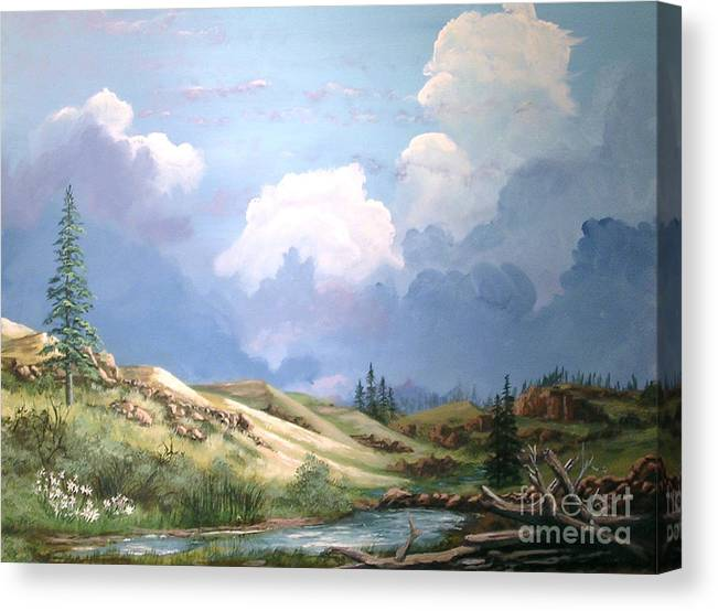 Clouds Canvas Print featuring the painting Alpine Vale by John Wise