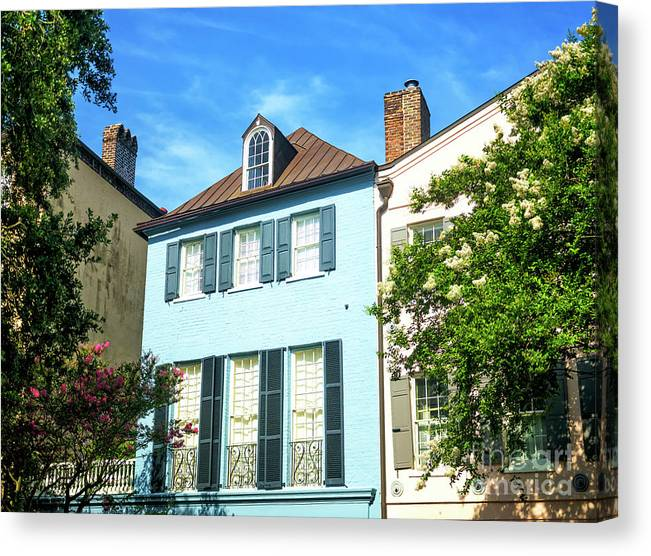 Rainbow Row Design Canvas Print featuring the photograph Rainbow Row Design In Charleston by John Rizzuto