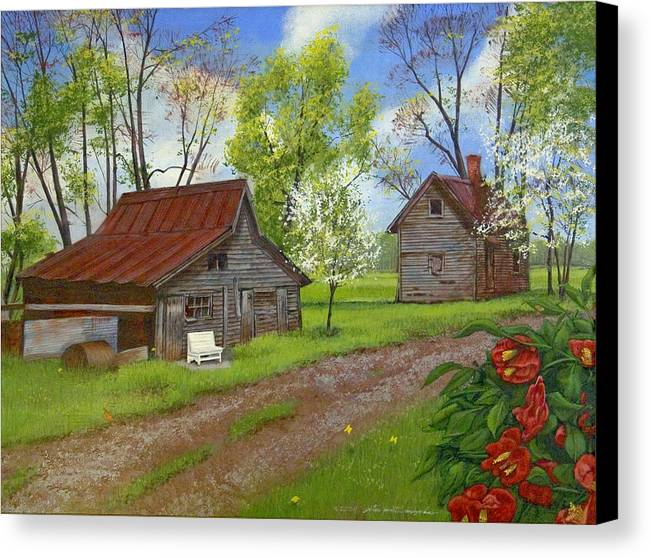 Landscape Canvas Print featuring the painting The White Bench by Peter Muzyka