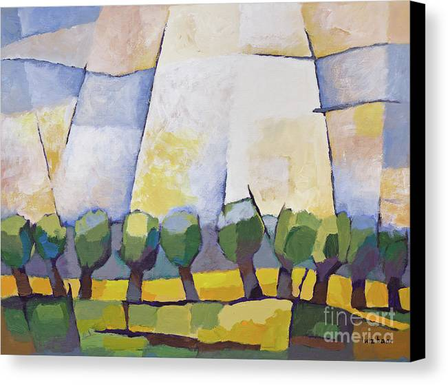 Landscape Canvas Print featuring the painting Allee Mit Rapsfeld by Lutz Baar