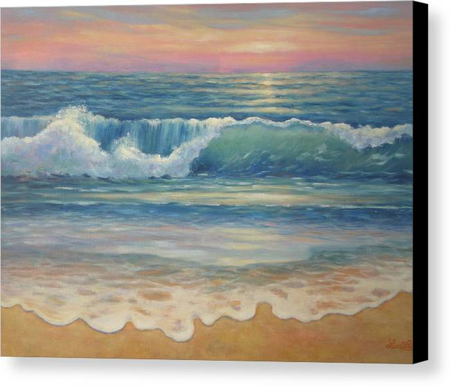 Seascape Canvas Print featuring the painting Evening Wave by Lee Riggs