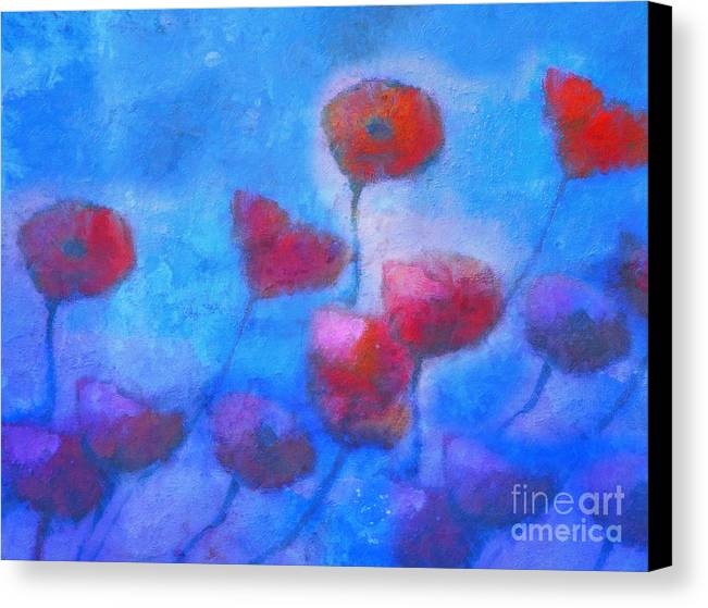 Poppy Canvas Print featuring the painting Poppy Blues by Lutz Baar