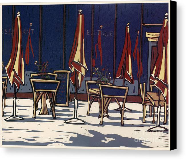 Limited Edition Canvas Print featuring the painting Sidewalk Cafe - Linocut Print by Annie Laurie