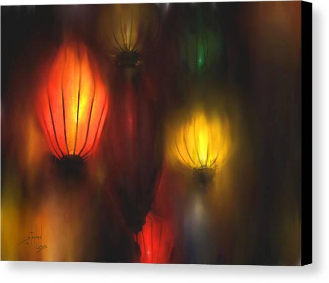 Lanterns Canvas Print featuring the painting Orange Lantern by Stephen Lucas