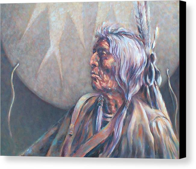 Old Indian Canvas Print featuring the painting I Was Young Once by Don Trout