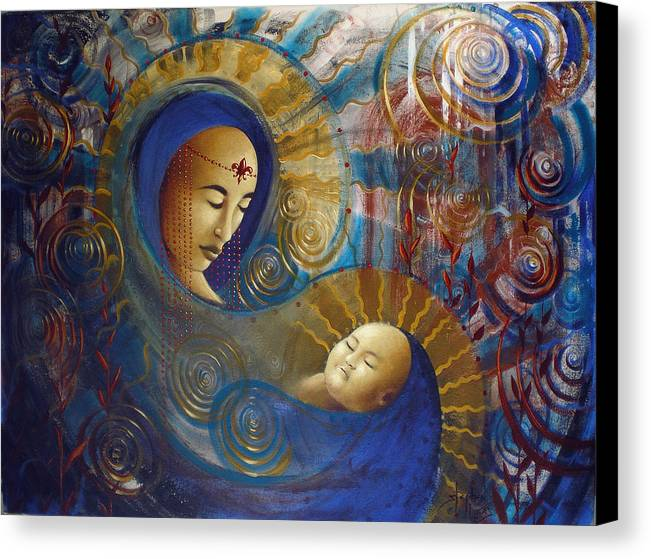 Oil Canvas Print featuring the painting Primordial Mother Gives Birth To Solar Father by Stephen Lucas