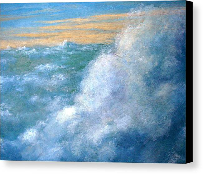 Landscape Canvas Print featuring the painting Above The Clouds by Jeannette Ulrich