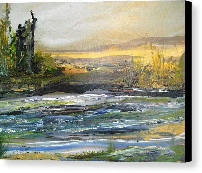 River Canvas Print featuring the painting Along The River by Linda King
