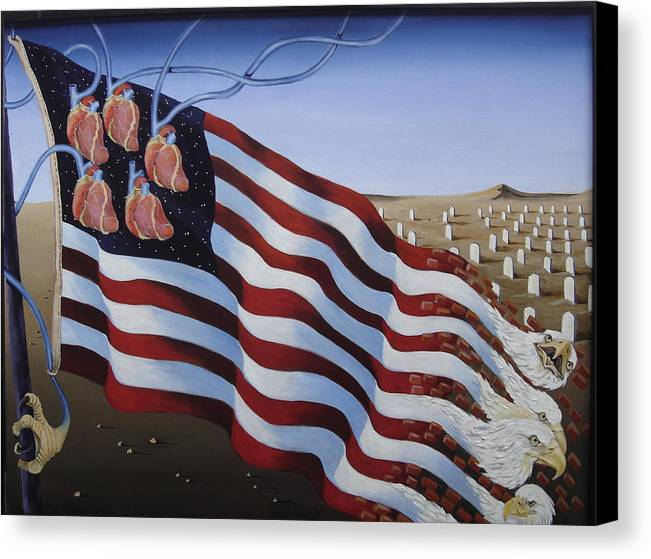 Flag Canvas Print featuring the painting America by Sandra Scheetz-Wise