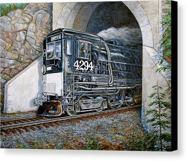 Train Canvas Print featuring the painting Cab Forward by Gary Symington