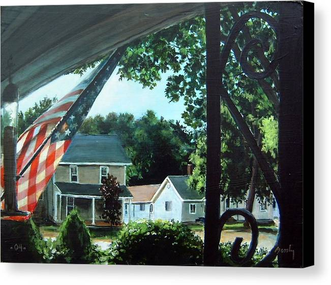 Landscape Canvas Print featuring the painting Fourth Of July Morning by William Brody