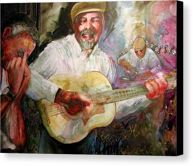 Music Canvas Print featuring the painting Jazz Men In Phoenix by Wendy Hill