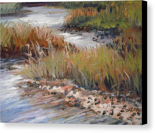Marsh Creek Sky Relections Canvas Print featuring the painting Marsh Reflections by Marilyn Masters