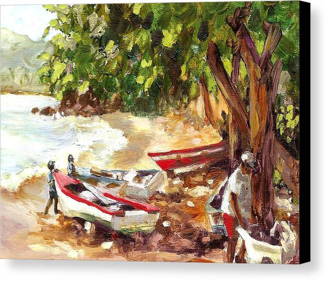 Seaside Canvas Print featuring the painting Men At Work by Monica Linville