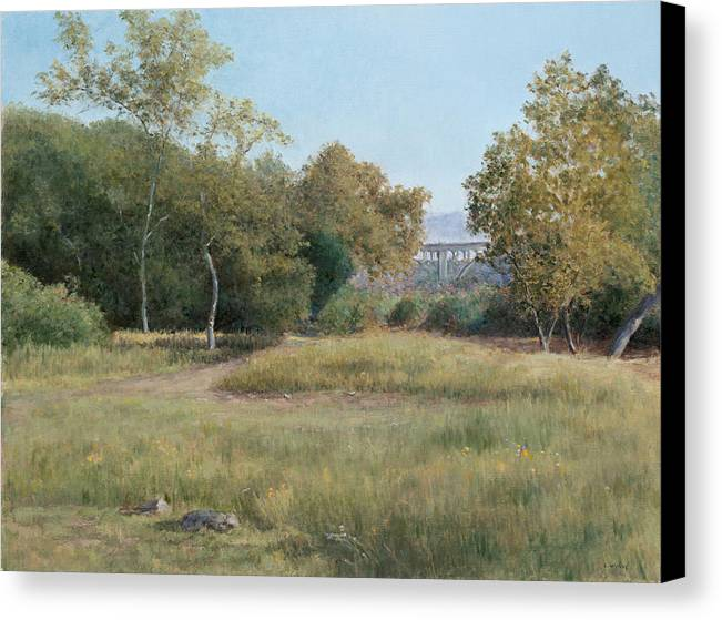 Landscape Canvas Print featuring the painting Morning In The Arroyo Seco by Laura Wynne