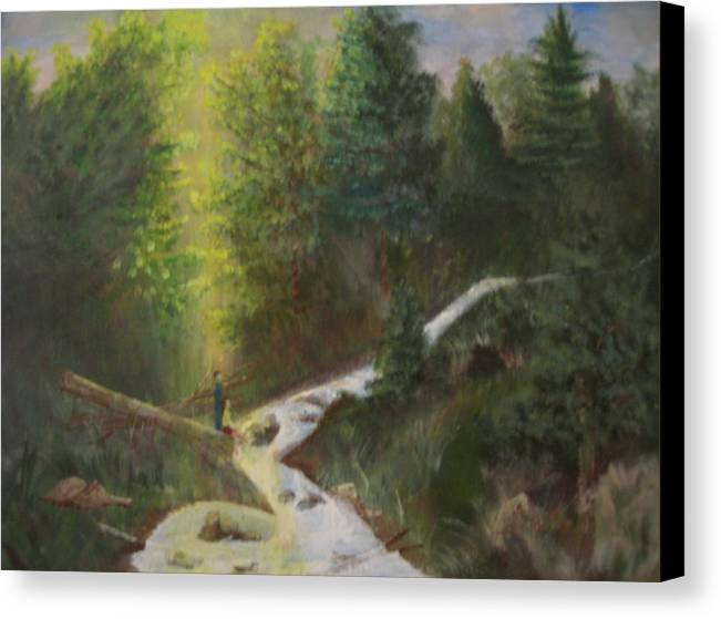 Landscape Canvas Print featuring the painting My Favorite Spot by Jack Hampton