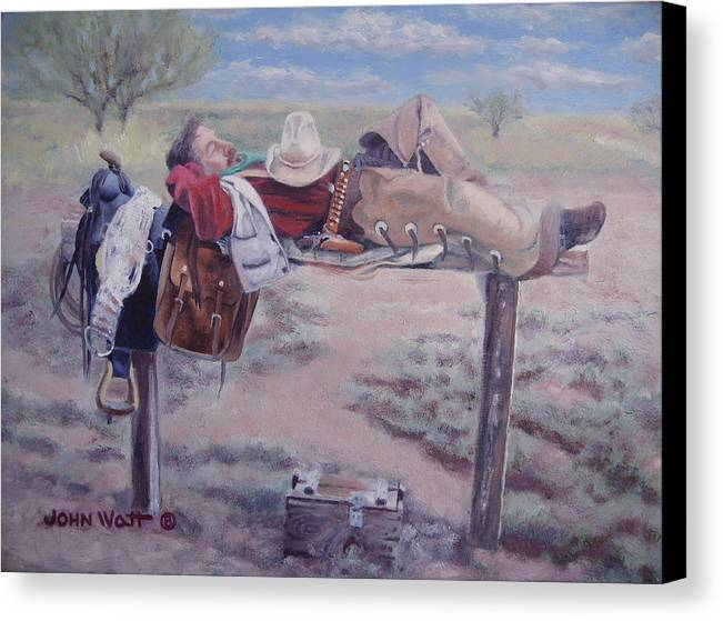 Empire Ranch Cowboy Canvas Print featuring the painting Select Comfort by John Watt