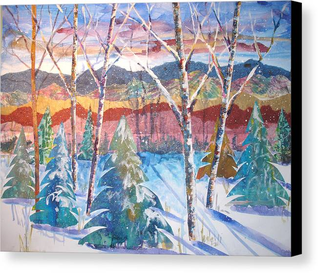 Landscape Canvas Print featuring the mixed media snowy Afternoon by Joyce Kanyuk