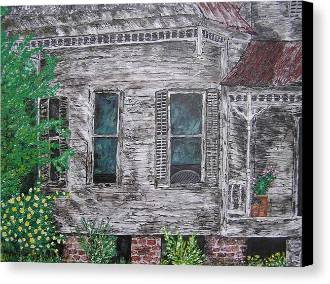 House Canvas Print featuring the painting Solitude Awaits by Ricklene Wren