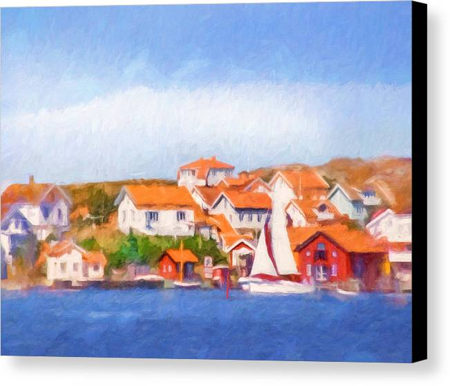 Seascape Canvas Print featuring the painting Summer Coast by Lutz Baar
