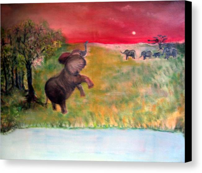 Wildlife Canvas Print featuring the painting The Calling - Elephants On The Serengeti by Michela Akers