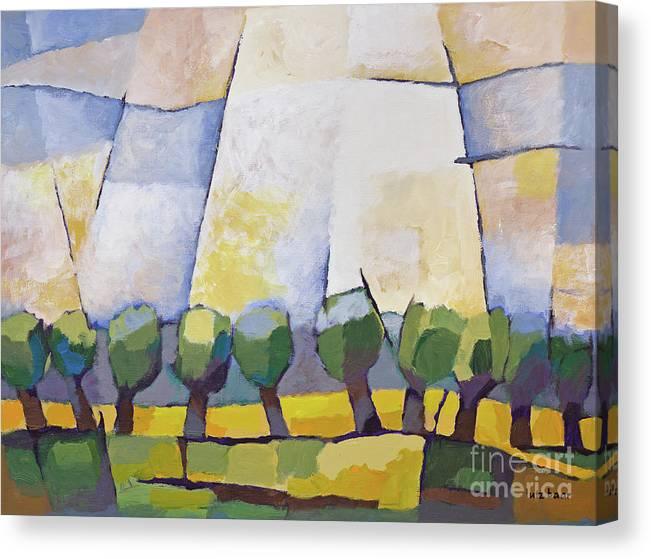 Landscape Canvas Print featuring the painting Allee Mit Rapsfeld by Lutz Baar