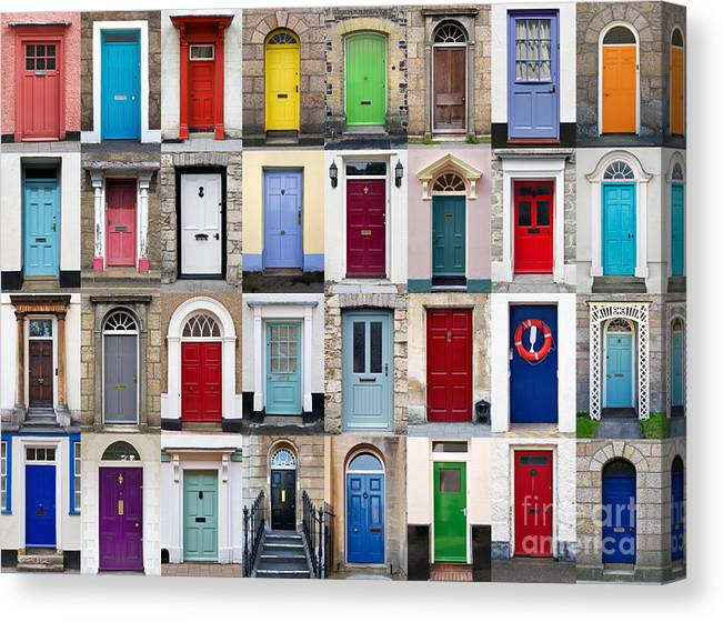 Door Canvas Print featuring the photograph 32 Front Doors Horizontal Collage by Richard Thomas