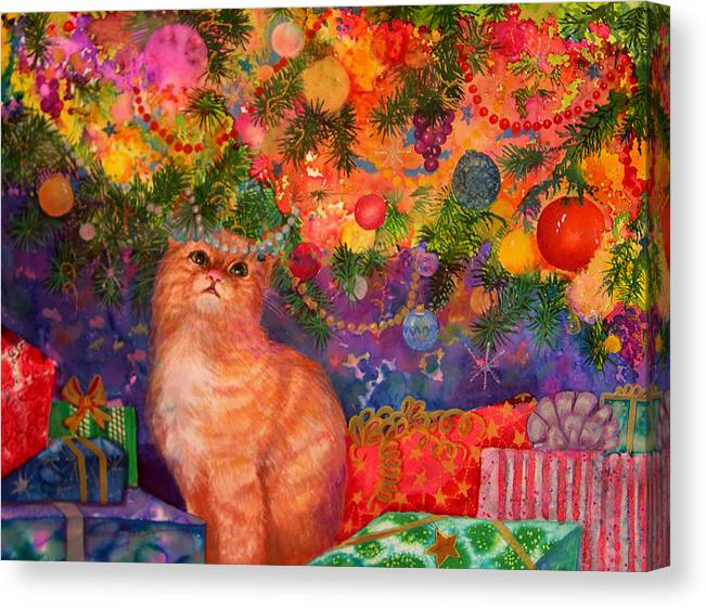Kitty Canvas Print featuring the painting Christmas Kitty by Valerie Aune