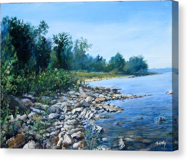 Seascape Canvas Print featuring the painting Shoreline by William Brody