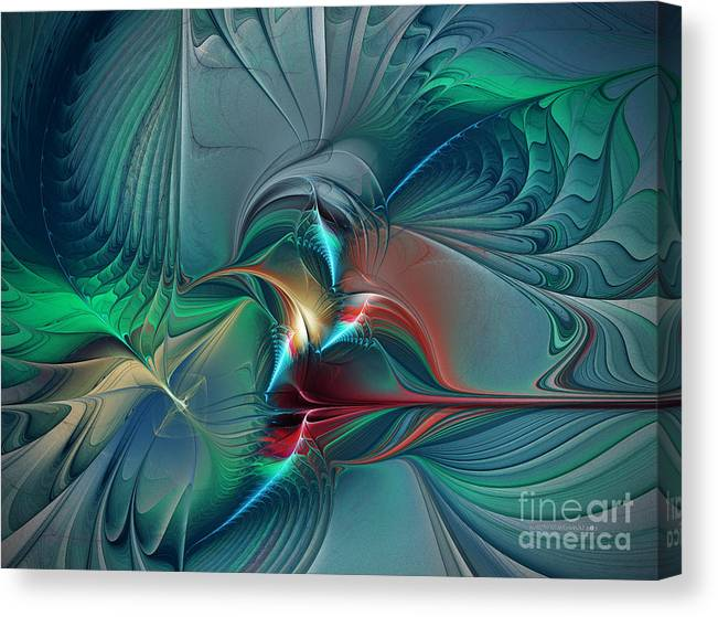 Abstract Canvas Print featuring the digital art The Center Of Longing-abstract Art by Karin Kuhlmann