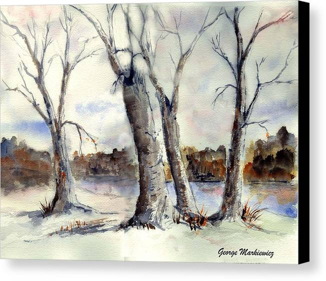 Landscape Canvas Print featuring the print Dancing In Winter by George Markiewicz