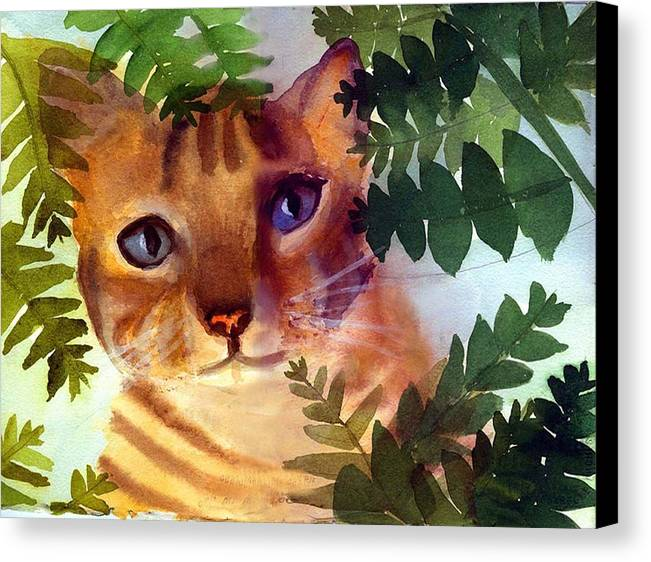 A Pet Cat Hides Behind Palms Canvas Print featuring the print Hide And Seek Cat by George Markiewicz