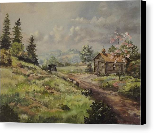 Landscape Canvas Print featuring the painting Church In The Ozarks by Wanda Dansereau
