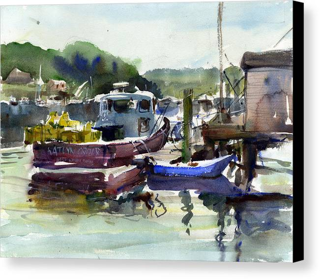 Fishing Boats Maine Waterscapes Lobster Boats Dock New England Canvas Print featuring the painting Blue Dinghy by Gordon France