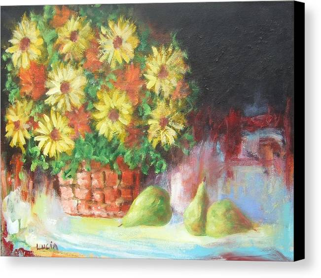 Cats. Flowers. Still Life Canvas Print featuring the print Cat In The Window by Carl Lucia