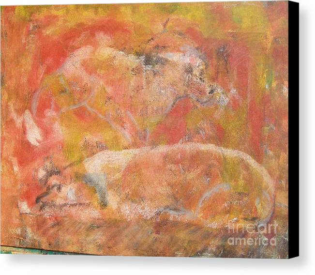 Abstract Canvas Print featuring the painting Dogs - Mother And Child by Don Phillips