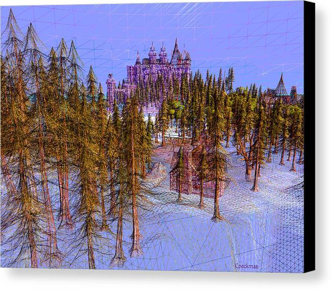 Wireart Canvas Print featuring the digital art Graf Castle In Blue by Constance Peckman