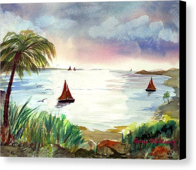Island Landscape Canvas Print featuring the print Island Of Dreams by George Markiewicz