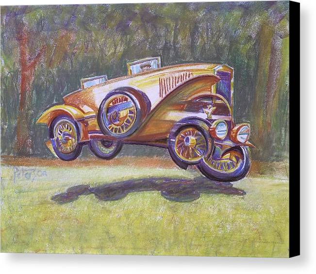 Antique Car Canvas Print featuring the drawing Jumpin Auburn Car by Gary Peterson