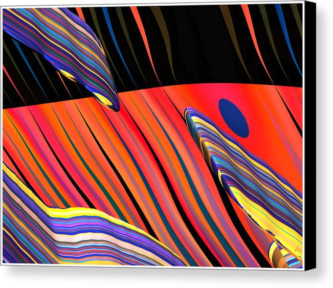Abstract Art; Digital Fine Art; Calligraphy; Bryce Renderings Canvas Print featuring the digital art kali.fa-Papillon - Callg. 10z11m9 by Terry Anderson