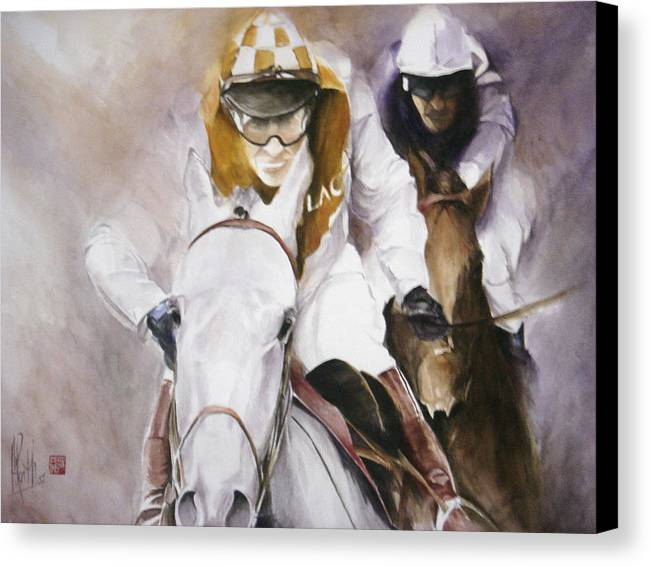 Race Horse Canvas Print featuring the painting Rooster Booster by Alan Kirkland-Roath
