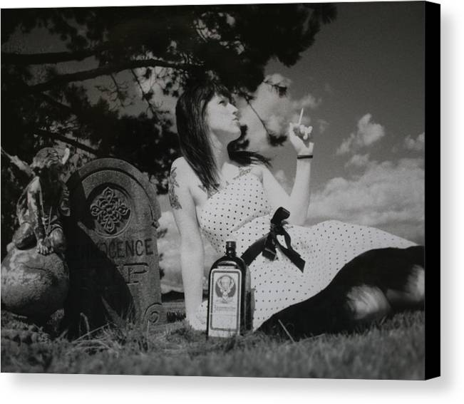 Black & White Canvas Print featuring the photograph The Death Of Innocence by Erika Lesnjak-Wenzel